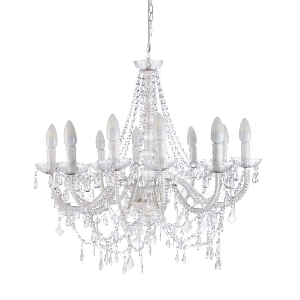 pampilles metal 12 branch chandelier in white d 75cm. Black Bedroom Furniture Sets. Home Design Ideas