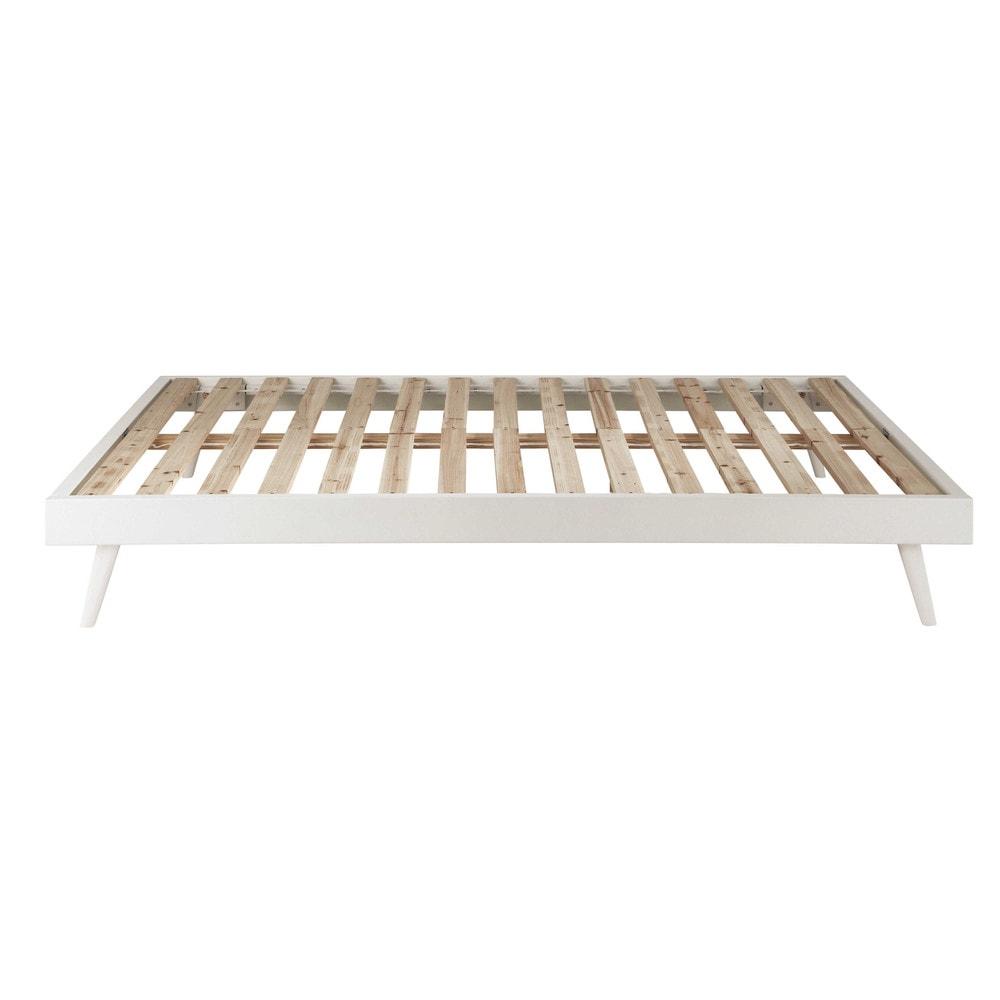 Panca letto bianco in legno 140 x 190 cm sixties maisons du monde - Letto contenitore 140 x 190 ...