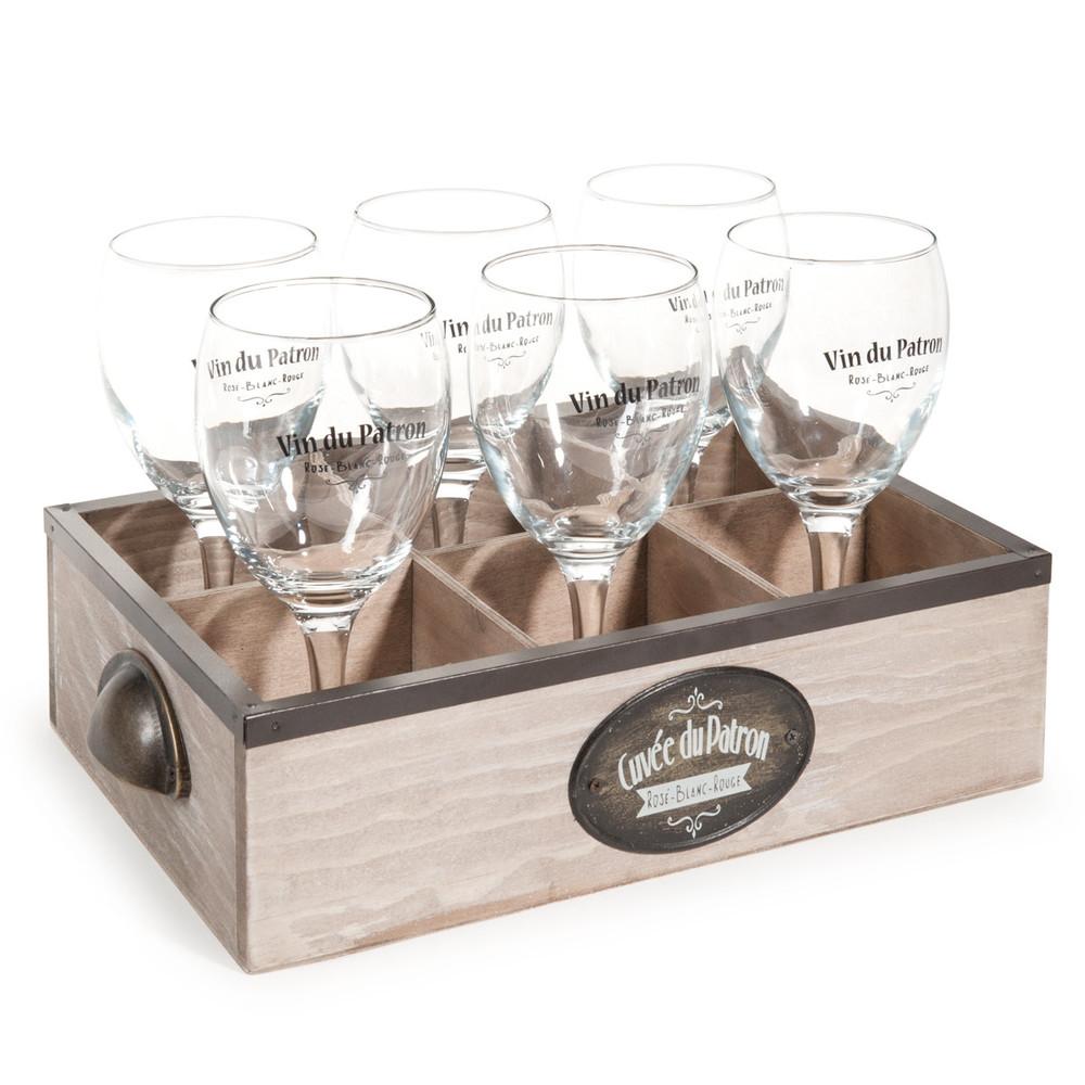 panier 6 verres en verre cuvee du patron maisons du monde. Black Bedroom Furniture Sets. Home Design Ideas