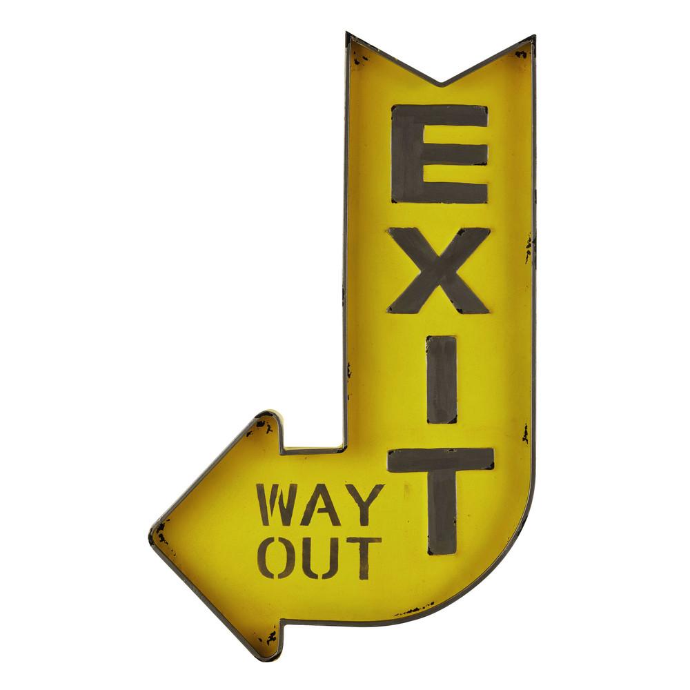 Panneau en m tal jaune 50 x 81 cm exit maisons du monde for Decoration murale fleche