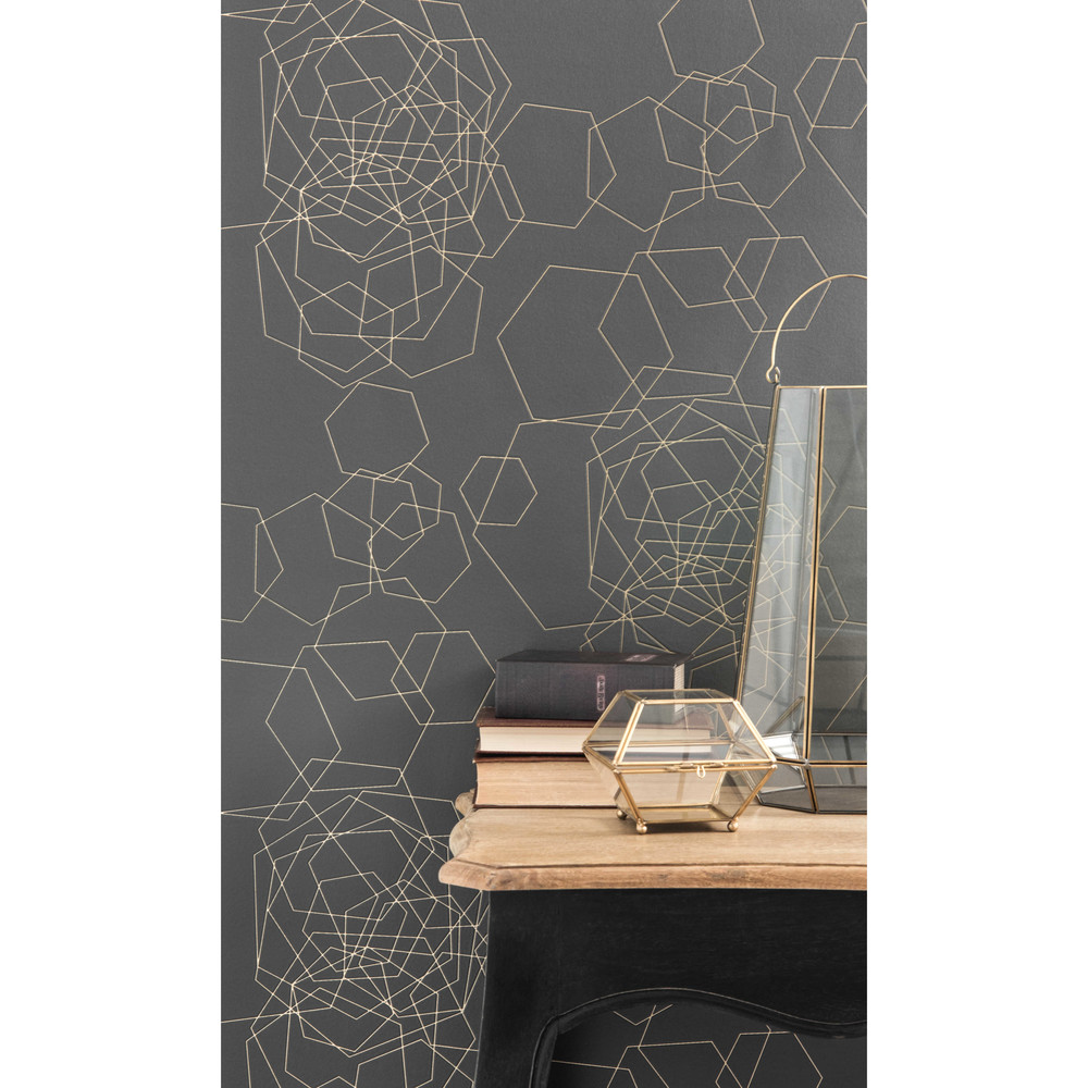 papier peint intiss graphique gris fonc h 10 05 m x l 0 53 m goldinger maisons du monde. Black Bedroom Furniture Sets. Home Design Ideas