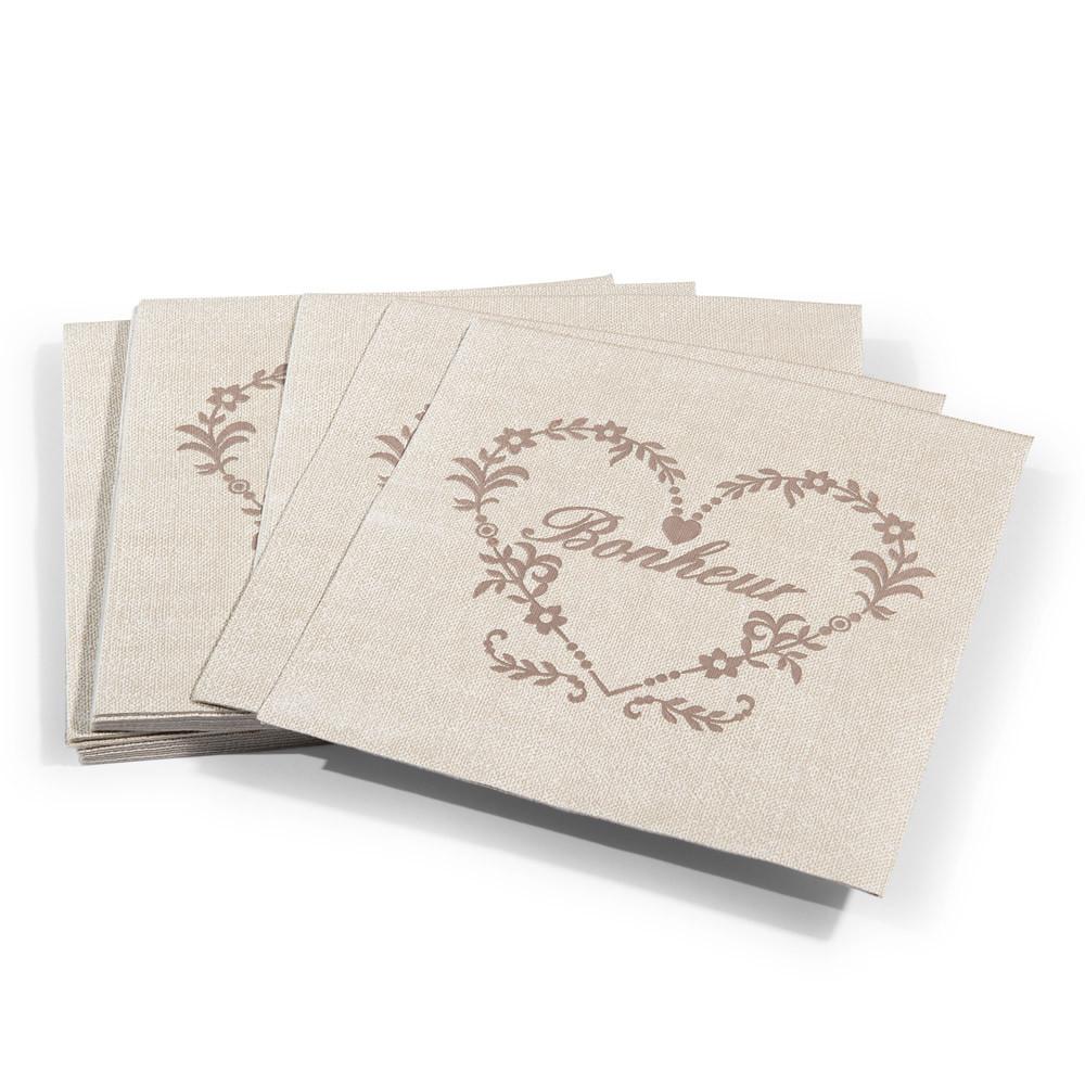 Paquet de 20 serviettes en papier beiges 17 x 17 cm for Porte serviette en papier