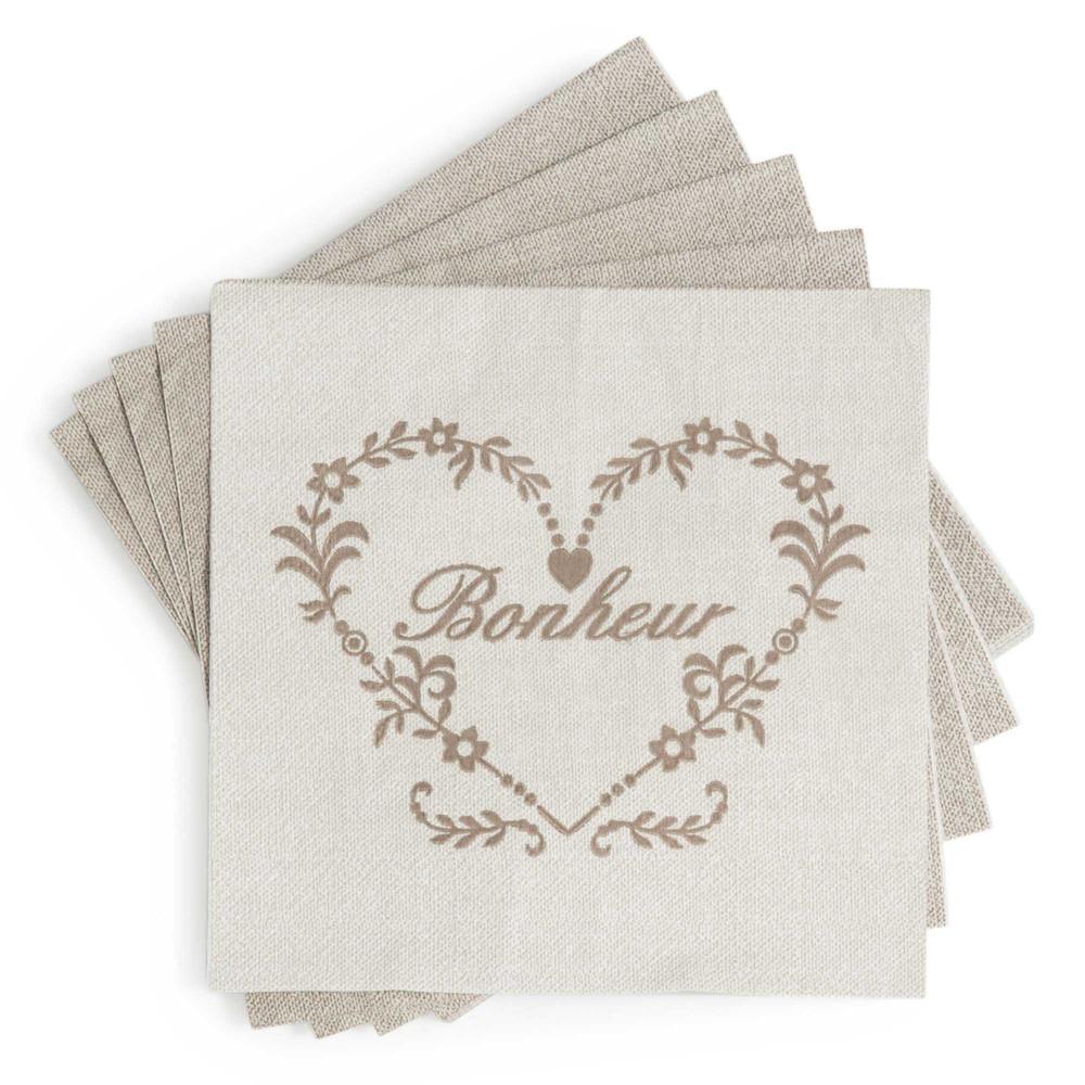 Paquet de 20 serviettes en papier beiges 17 x 17 cm - Porte serviette papier ...
