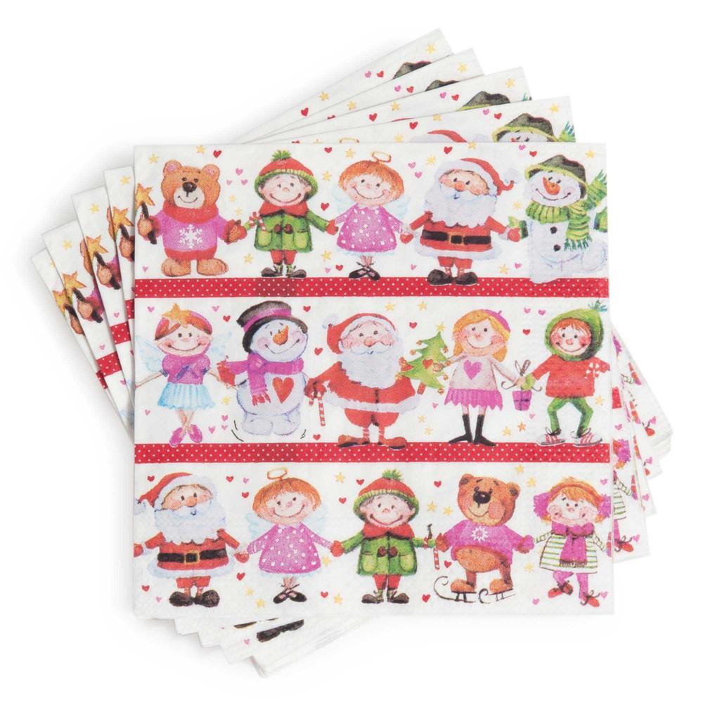Paquet de 20 serviettes en papier multicolore 25 x 25 cm farandole no l maisons du monde - Paquet jardin deco noel nancy ...