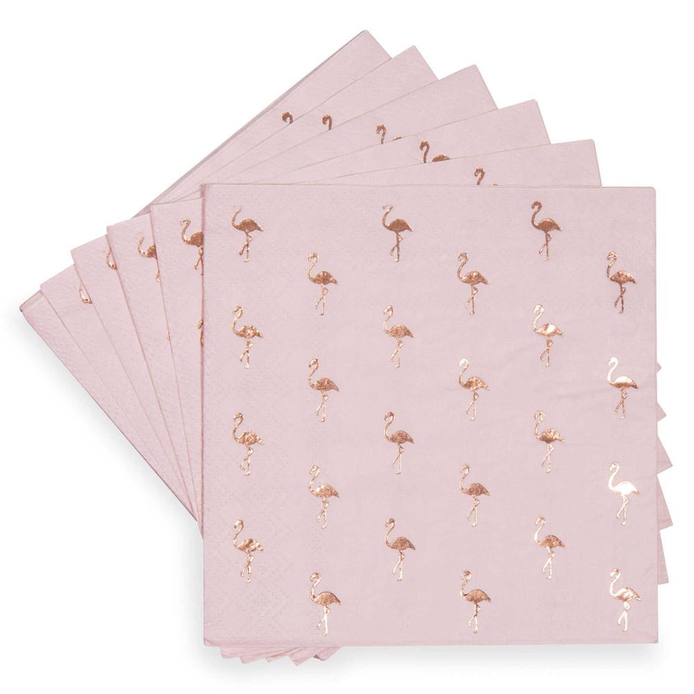 paquet de 20 serviettes motif flamant rose en papier 25 x 25 cm cocktail maisons du monde. Black Bedroom Furniture Sets. Home Design Ideas