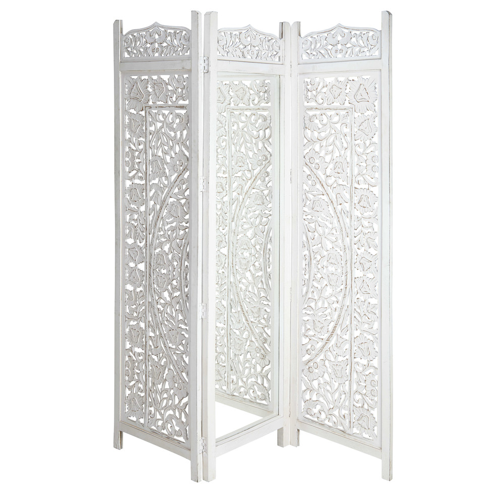 paravent blanc 3 vantaux et miroir saranya maisons du monde. Black Bedroom Furniture Sets. Home Design Ideas