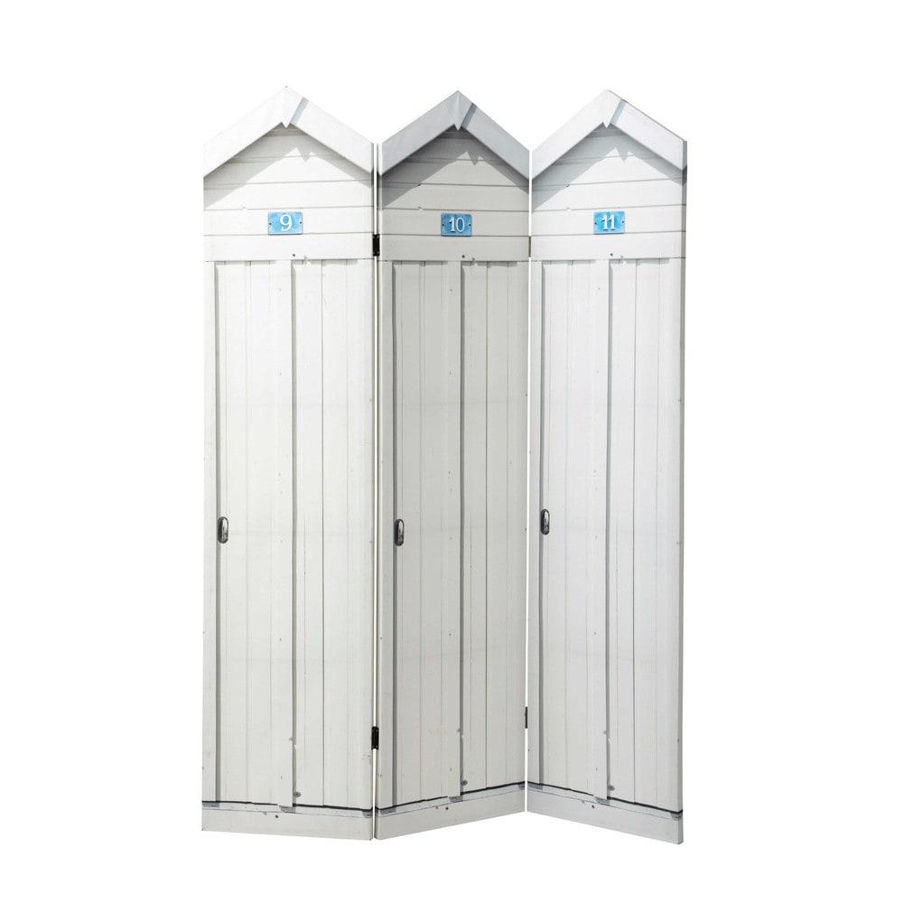 Paravent en bois blanc l 121 cm bord de mer maisons du monde for Paravent salle de bain