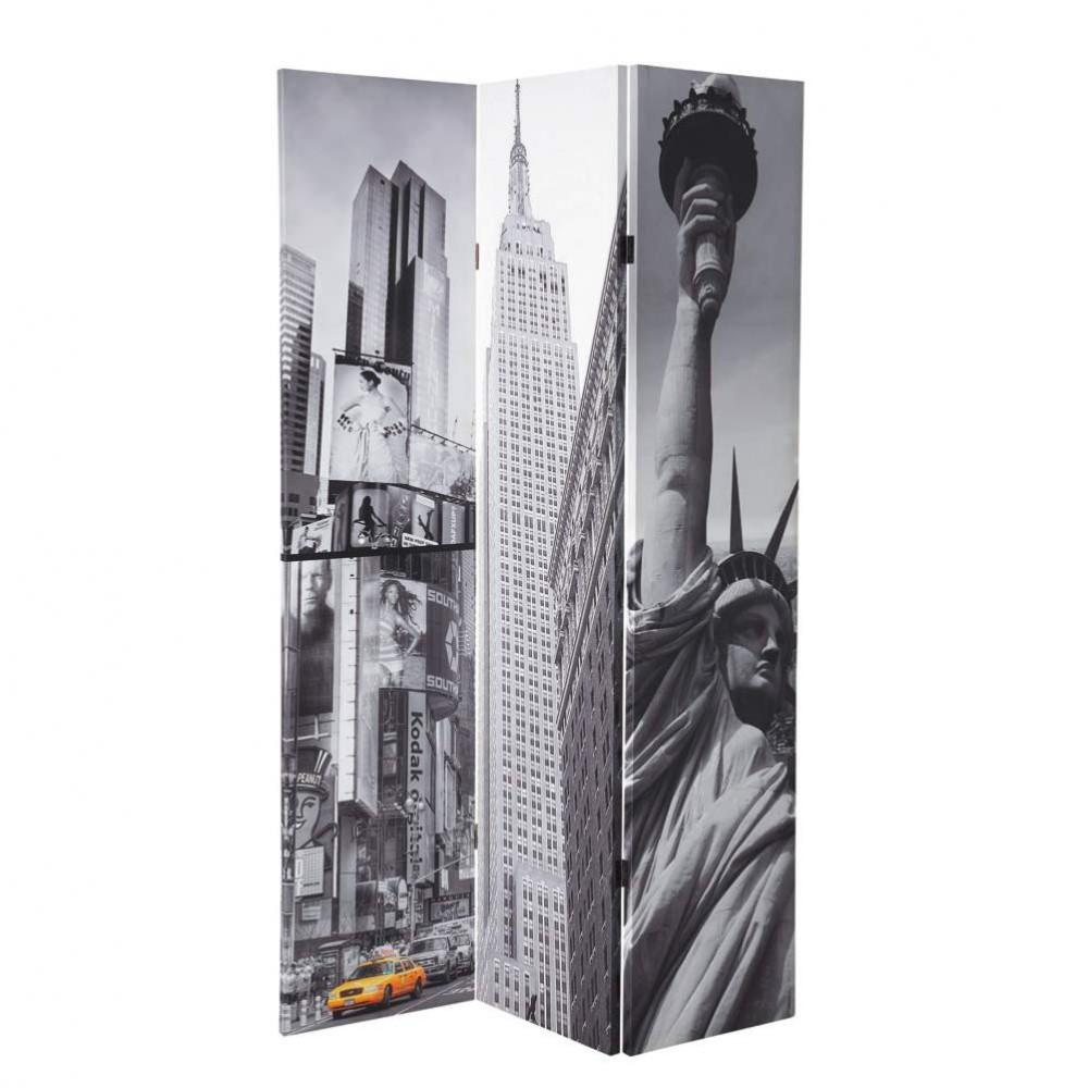 Paravent imprim en bois gris l 120 cm new york maisons du monde - Paravent maisons du monde ...