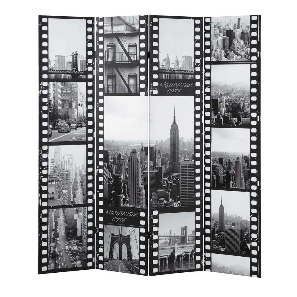 Paravent Imprim En Bois Noir Et Blanc L 160 Cm New York