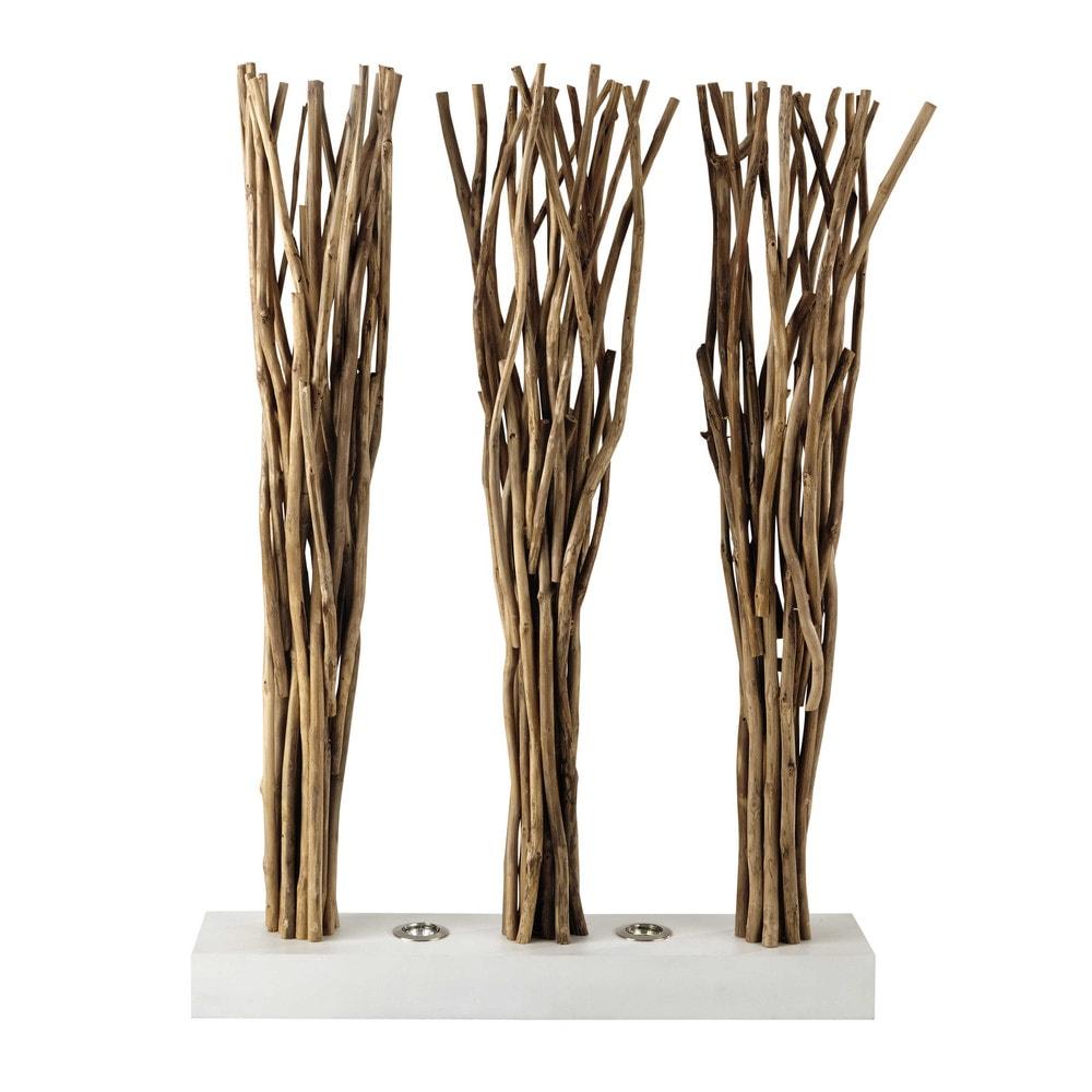 Paravent lumineux en bois et coton blanc l 100 cm toundra maisons du monde - Maison du monde paravent ...