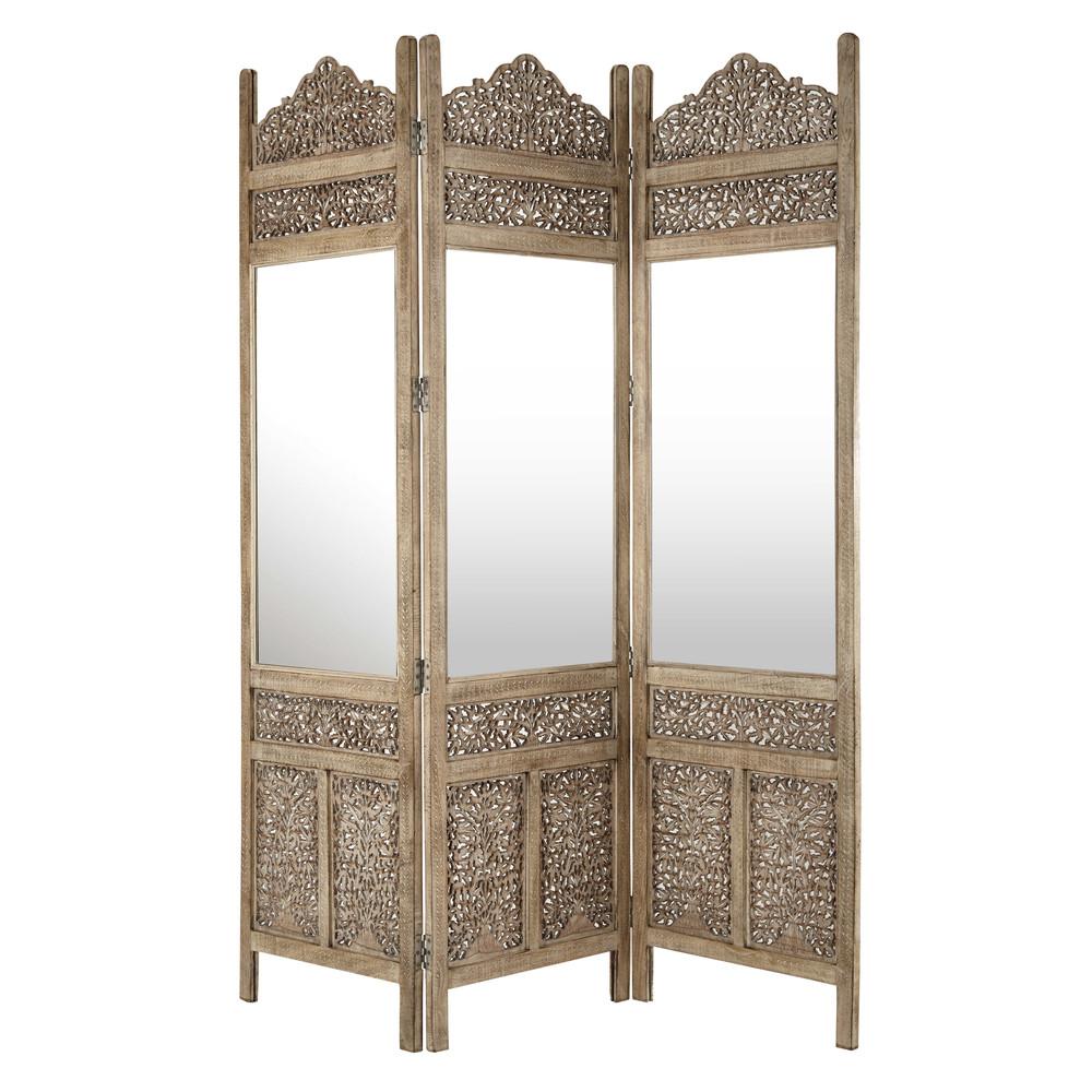 paravent surabaya mit spiegel und rahmen aus geschnitztem. Black Bedroom Furniture Sets. Home Design Ideas