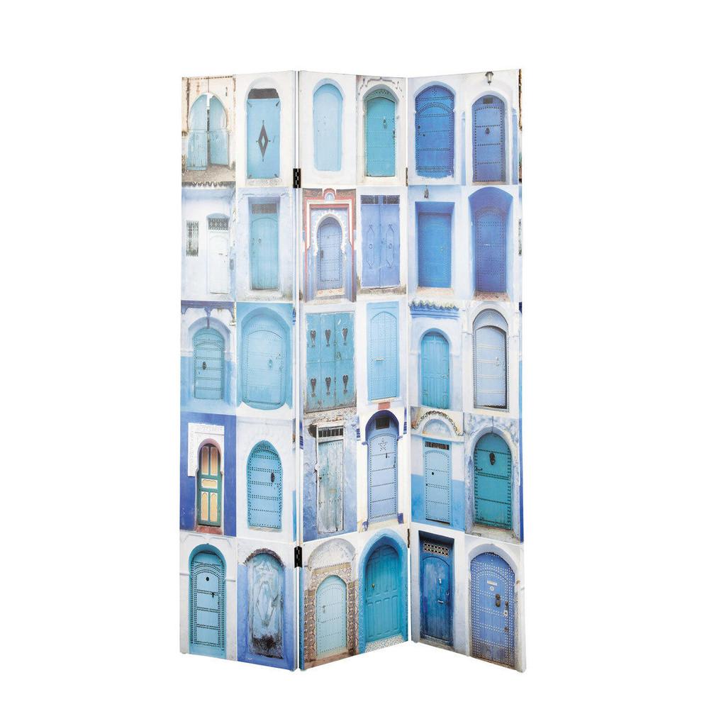 paravento stampato blu in legno l 120 cm gabes maisons du monde. Black Bedroom Furniture Sets. Home Design Ideas