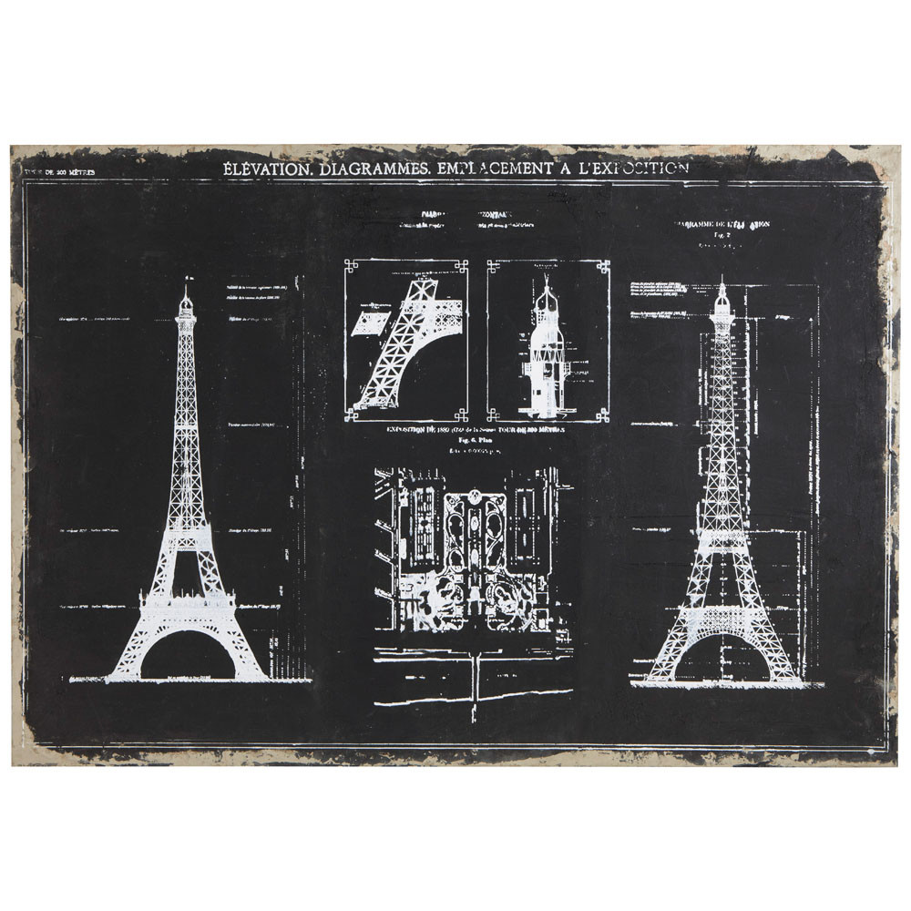 paris sketch canvas print maisons du monde. Black Bedroom Furniture Sets. Home Design Ideas