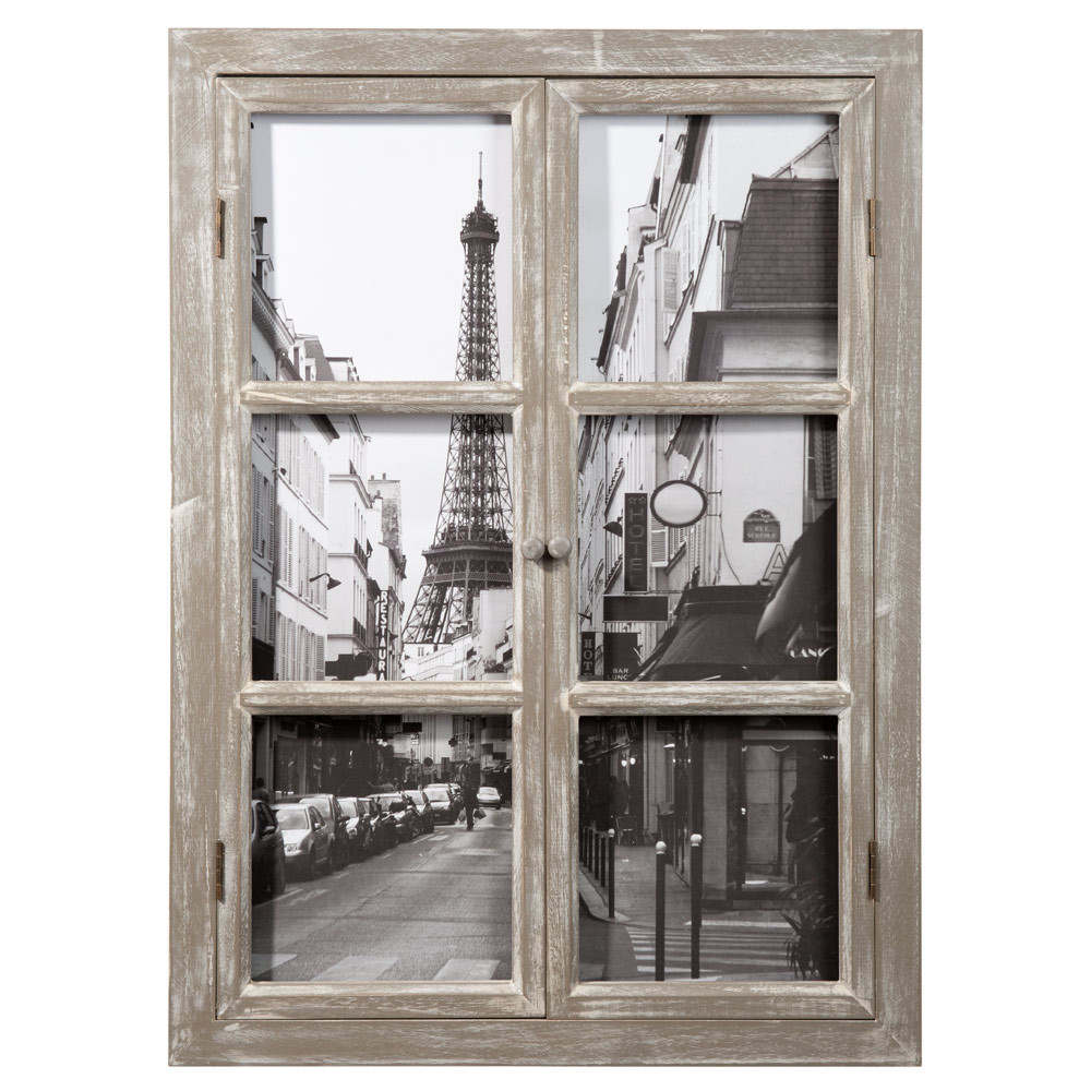 paris wooden window picture 57 x 79cm maisons du monde. Black Bedroom Furniture Sets. Home Design Ideas