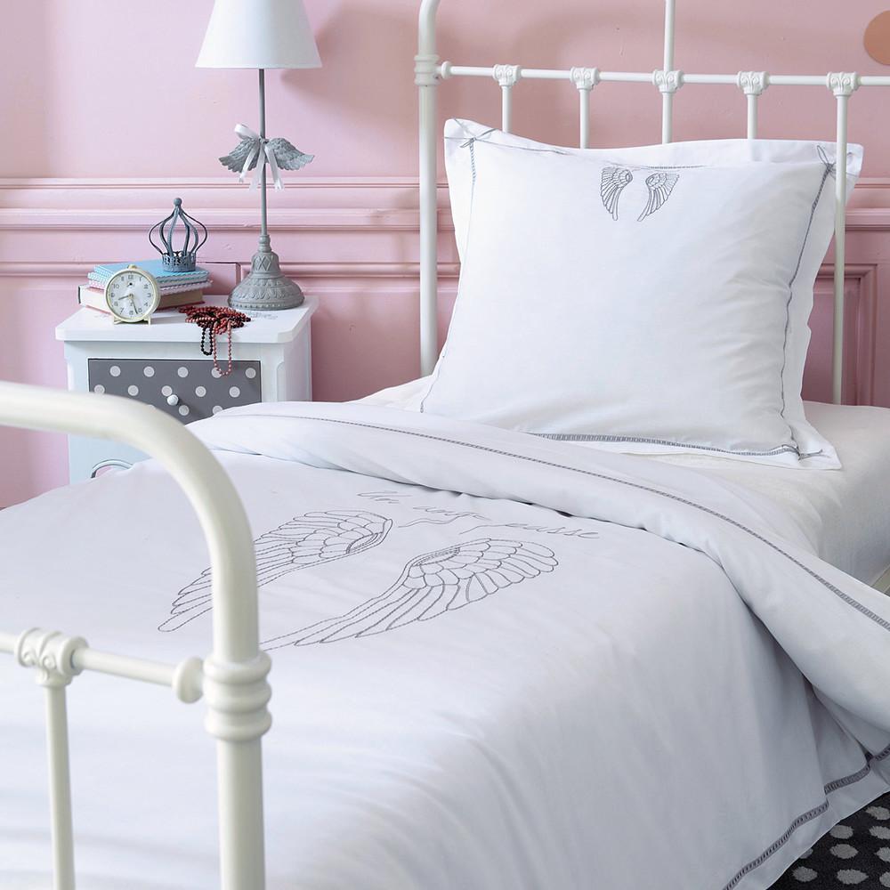 Parure de lit 140 x 200 cm en coton blanche ange maisons for Parure de lit blanche