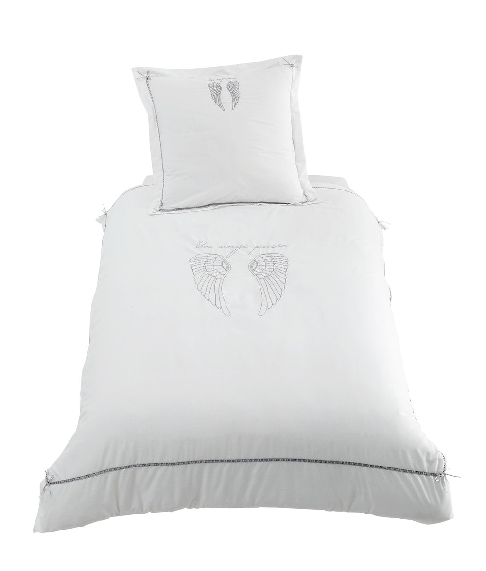 parure de lit 140 x 200 cm en coton blanche ange maisons. Black Bedroom Furniture Sets. Home Design Ideas