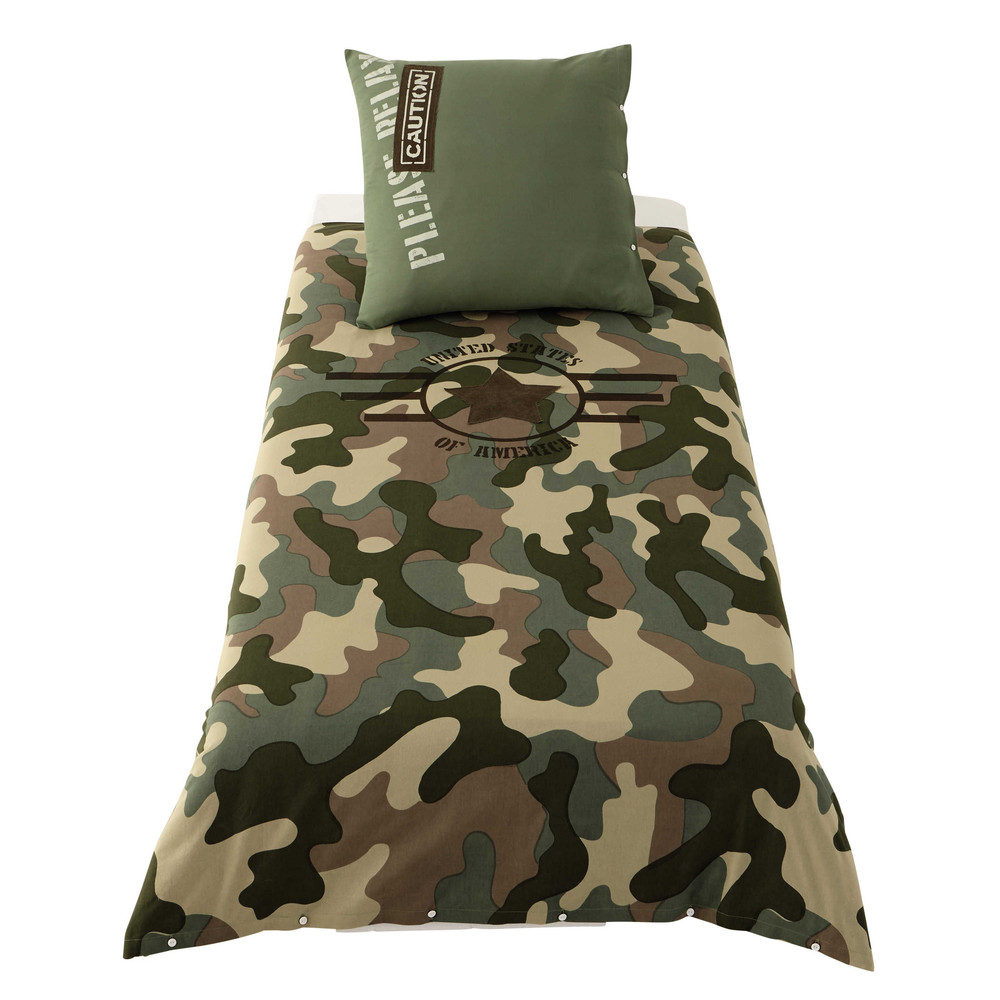 parure de lit 140 x 200 cm en coton vert army maisons du monde. Black Bedroom Furniture Sets. Home Design Ideas