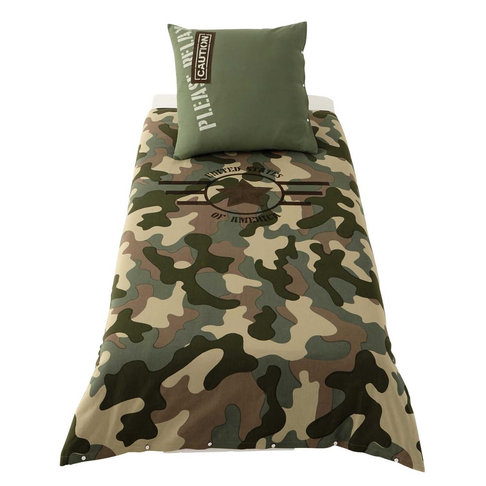parure de lit 140 x 200 cm en coton vert army maisons du. Black Bedroom Furniture Sets. Home Design Ideas