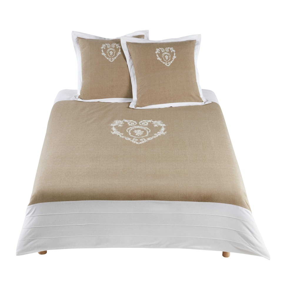 parure de lit 220 x 240 cm en coton beige camille maisons du monde. Black Bedroom Furniture Sets. Home Design Ideas
