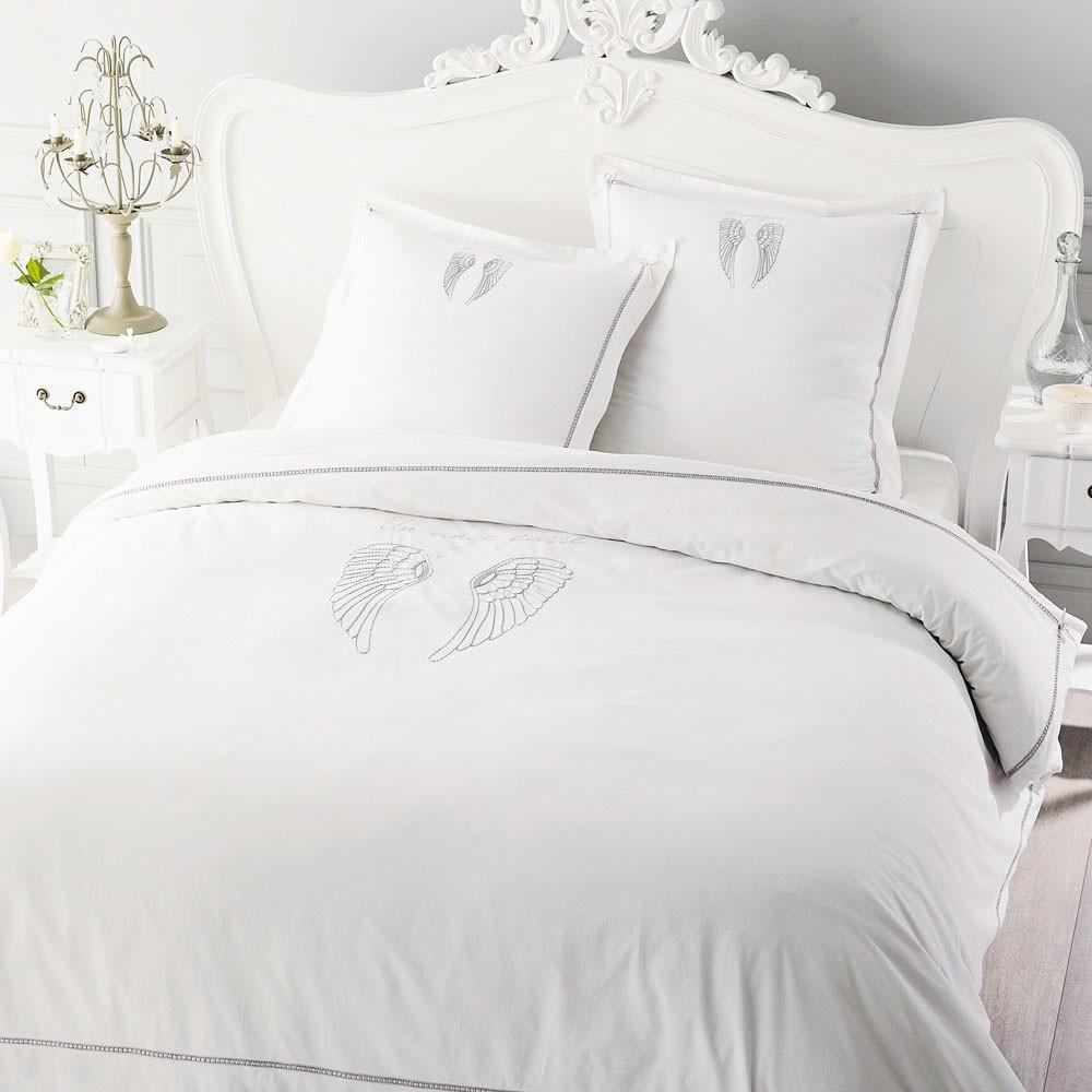 Parure de lit 220 x 240 cm en coton blanche ange maisons - Housse de couette blanche brodee ...