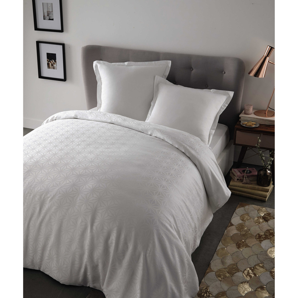 parure de lit 220 x 240 cm en coton blanche chlo maisons du monde. Black Bedroom Furniture Sets. Home Design Ideas