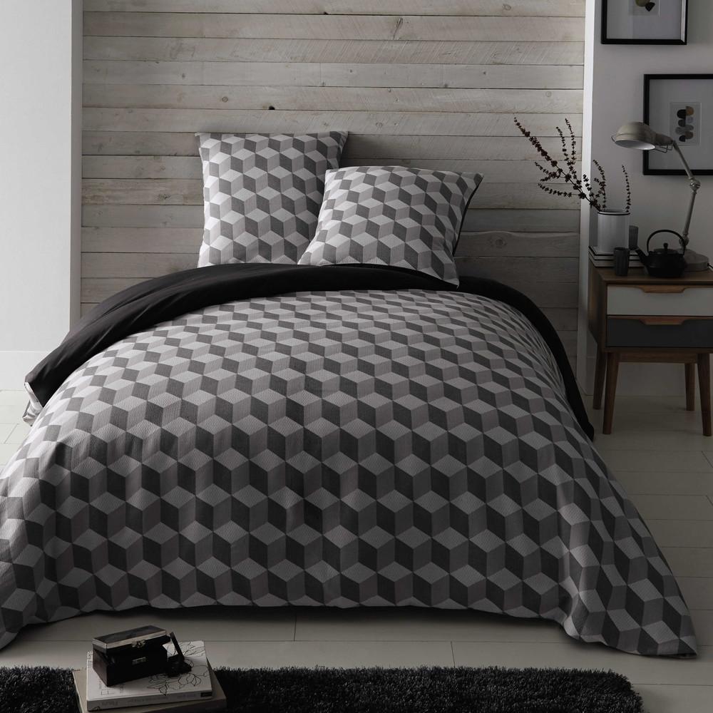 parure de lit 220 x 240 cm en coton blanche grise cubic maisons du monde. Black Bedroom Furniture Sets. Home Design Ideas