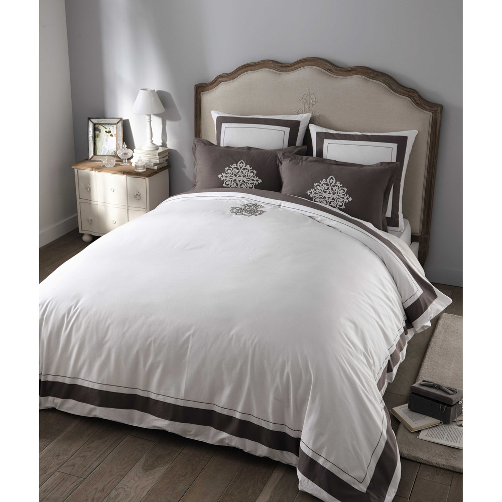 parure de lit 220 x 240 cm en coton blanche montesquieu maisons du monde. Black Bedroom Furniture Sets. Home Design Ideas
