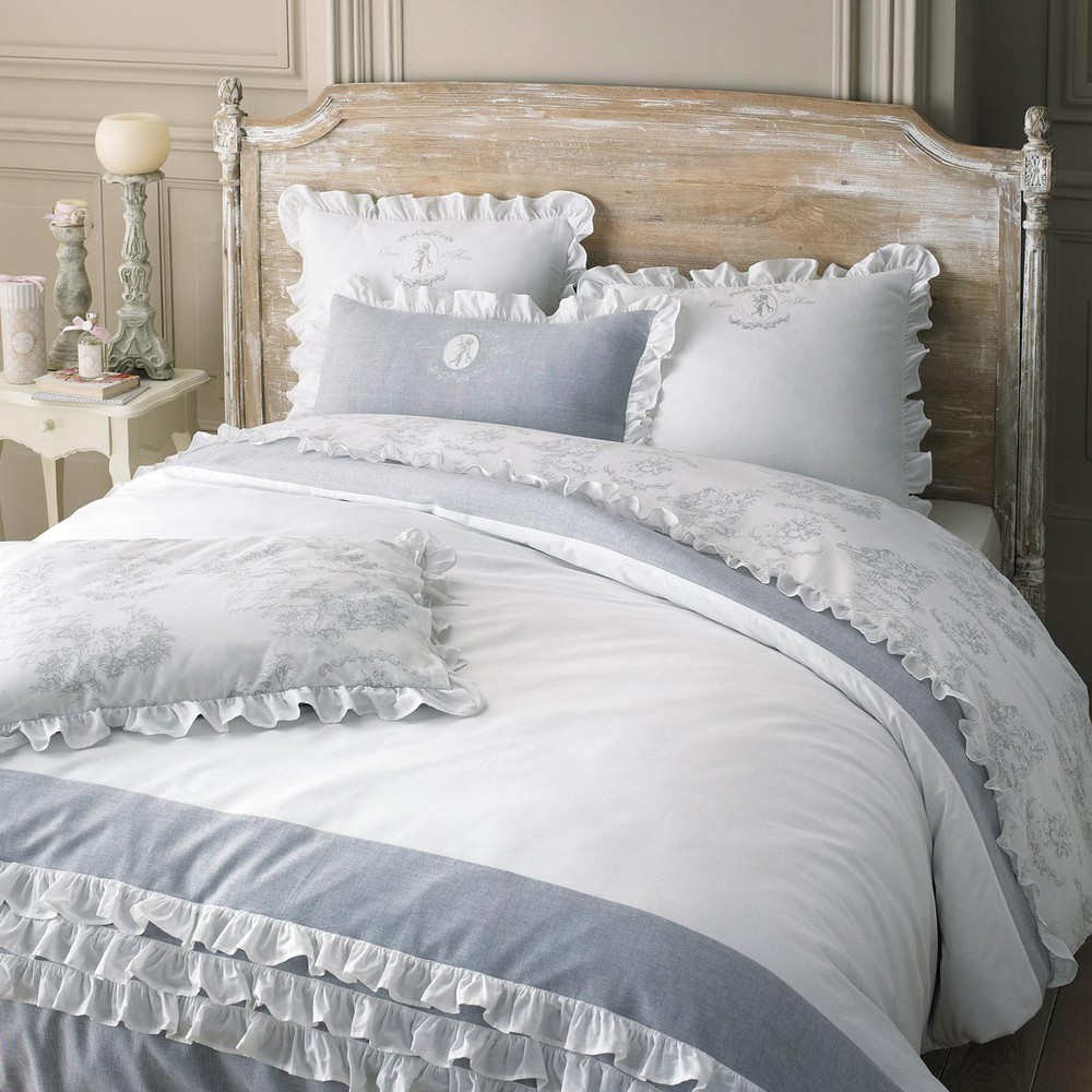 parure de lit 220 x 240 cm en coton blanche raphael maisons du monde. Black Bedroom Furniture Sets. Home Design Ideas