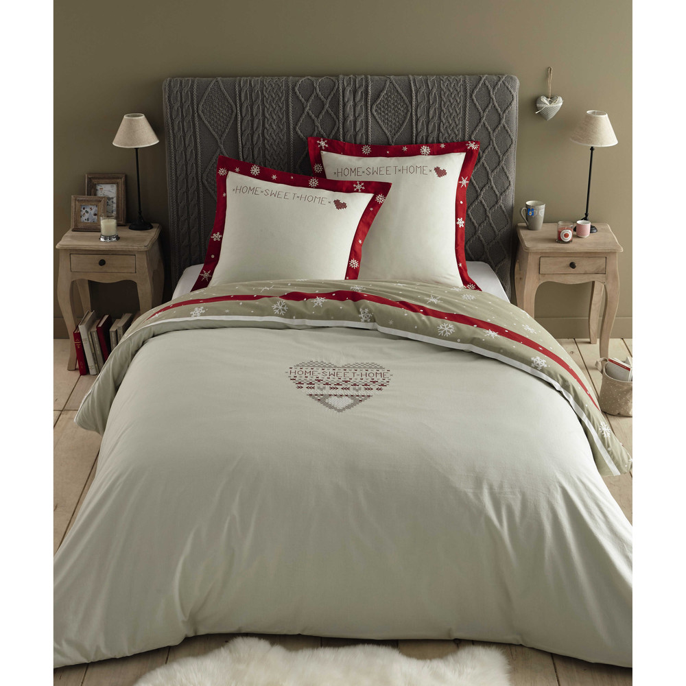 parure de lit 220 x 240 cm en coton blanche rouge alpaga. Black Bedroom Furniture Sets. Home Design Ideas