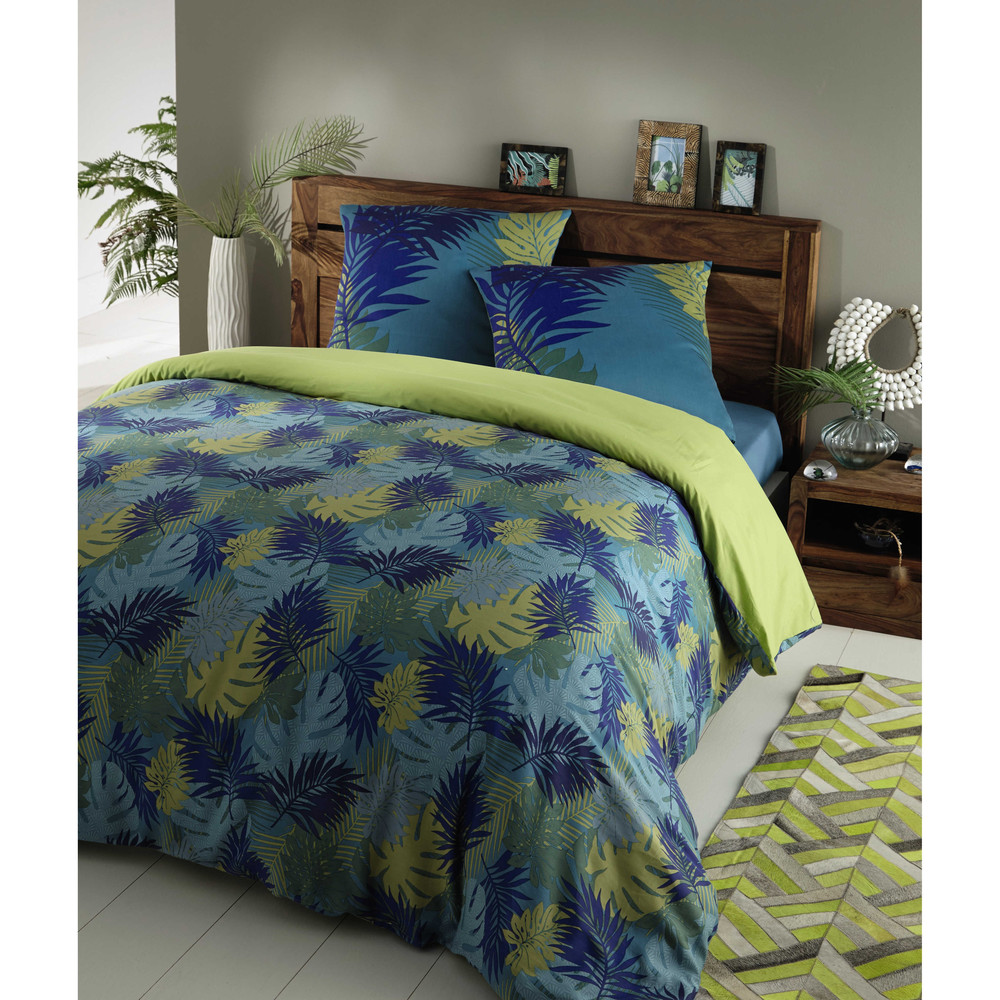 parure de lit 220 x 240 cm en coton bleu vert tropical maisons du monde. Black Bedroom Furniture Sets. Home Design Ideas