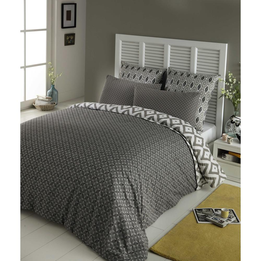 parure de lit 220 x 240 cm en coton grise maloni maisons. Black Bedroom Furniture Sets. Home Design Ideas