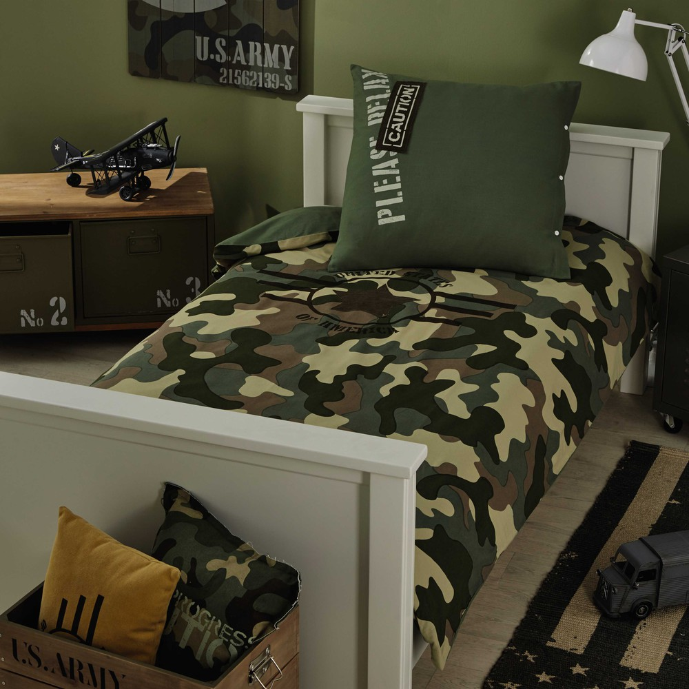 parure de lit 220 x 240 cm en coton vert army maisons du. Black Bedroom Furniture Sets. Home Design Ideas