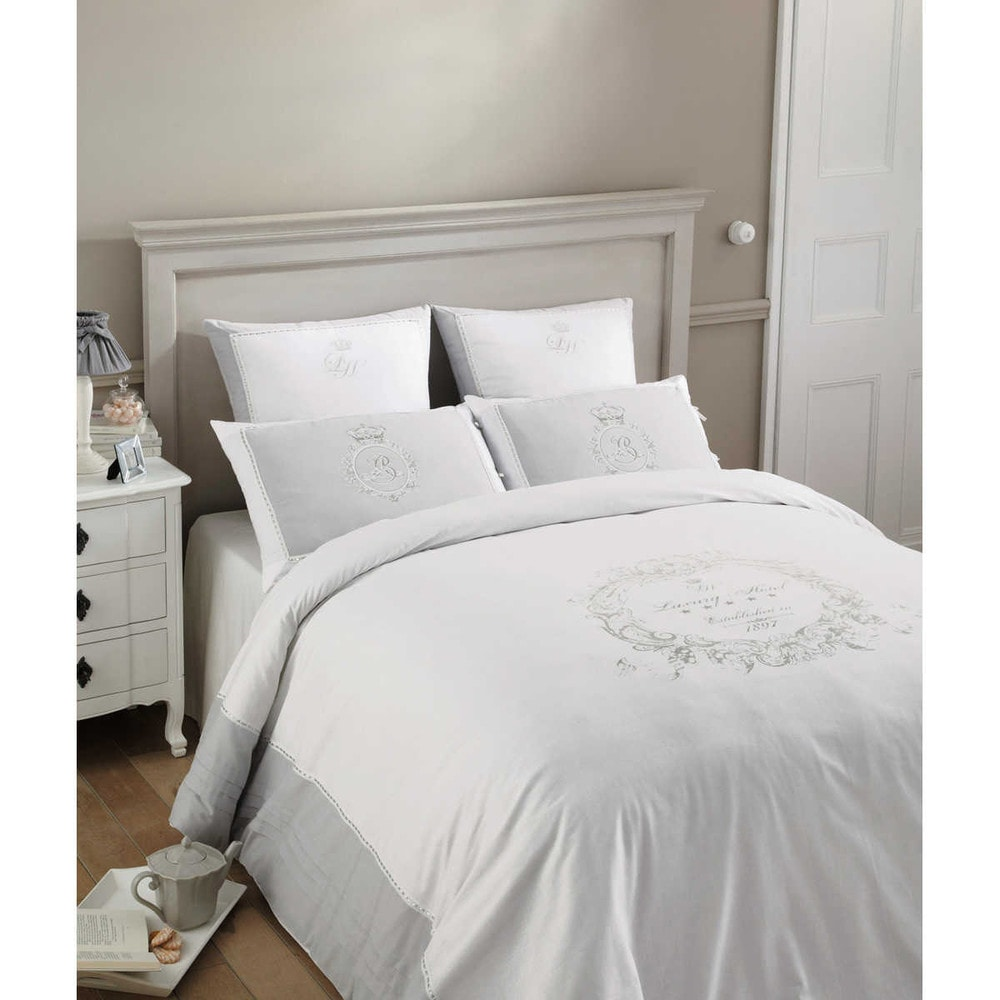 parure de lit 240 x 260 cm en coton blanche luxury. Black Bedroom Furniture Sets. Home Design Ideas