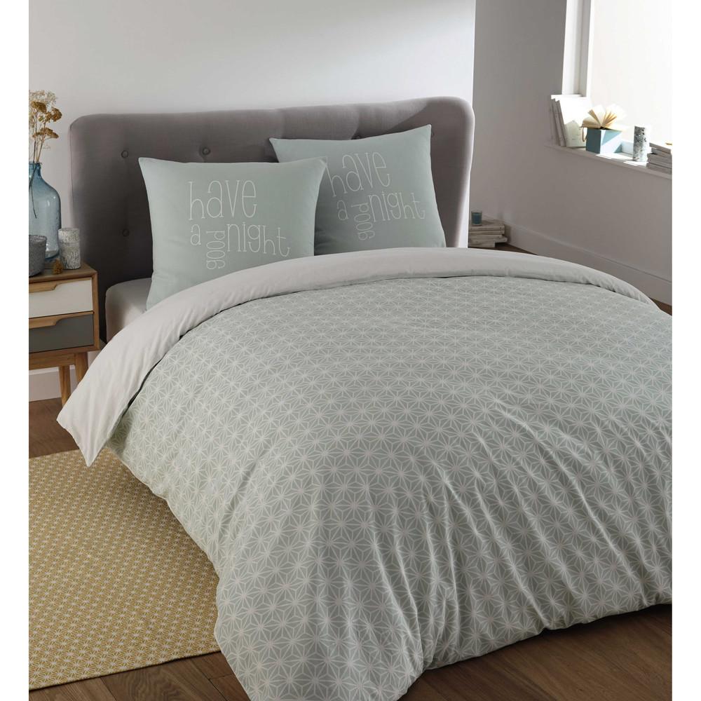 parure de lit 240 x 260 cm en coton bleue kimono maisons du monde. Black Bedroom Furniture Sets. Home Design Ideas