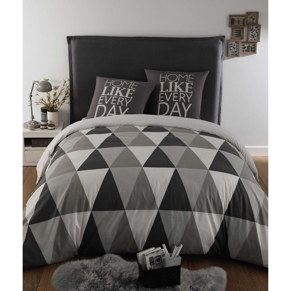 Parure de lit 240 x 260 cm en coton grise triangle for Parure de lit maison du monde