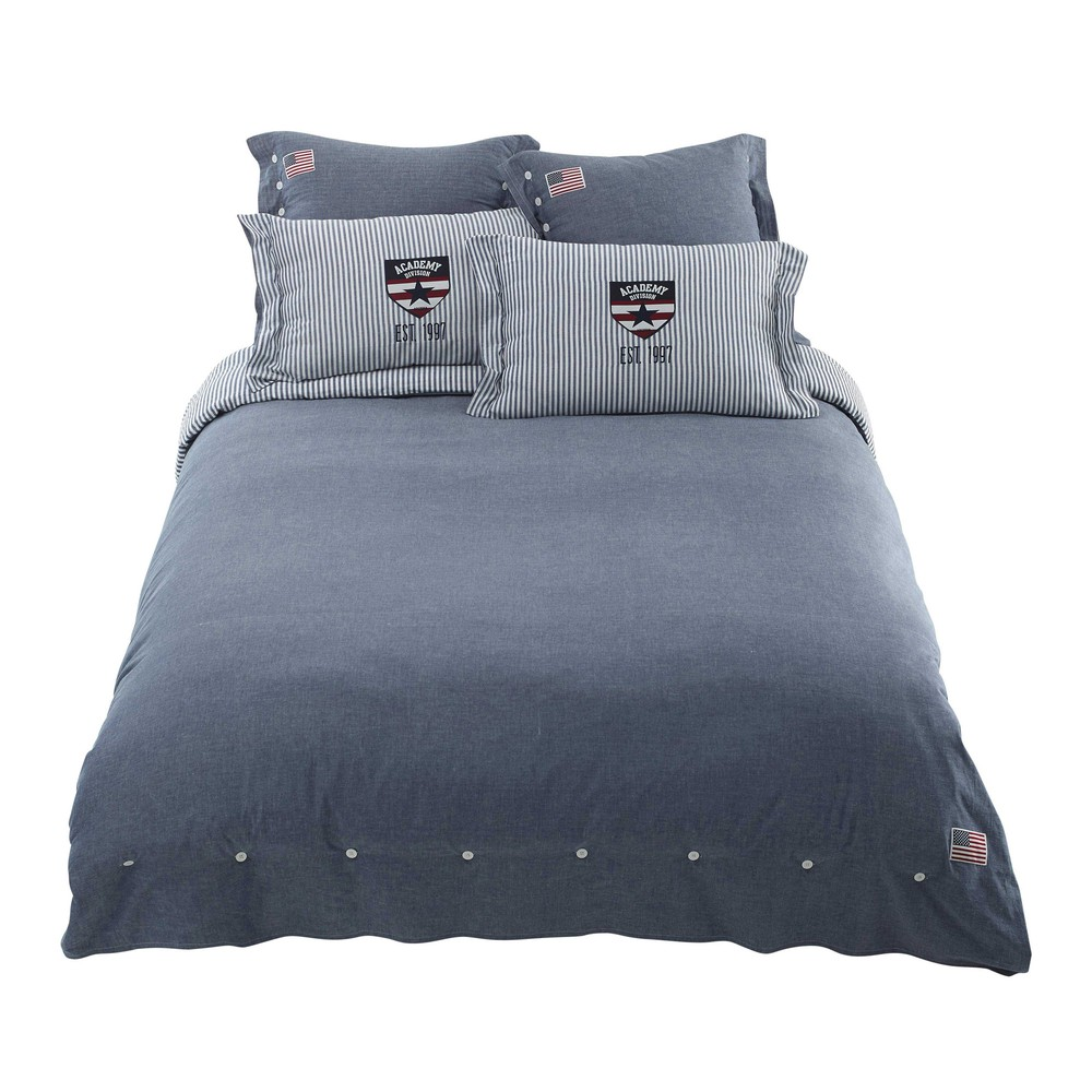 parure de lit chambray en coton bleu 220x240 princeton. Black Bedroom Furniture Sets. Home Design Ideas