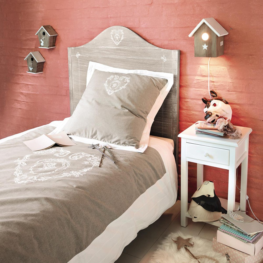 parure de lit en coton beige 140 x 200 cm camille maisons du monde. Black Bedroom Furniture Sets. Home Design Ideas