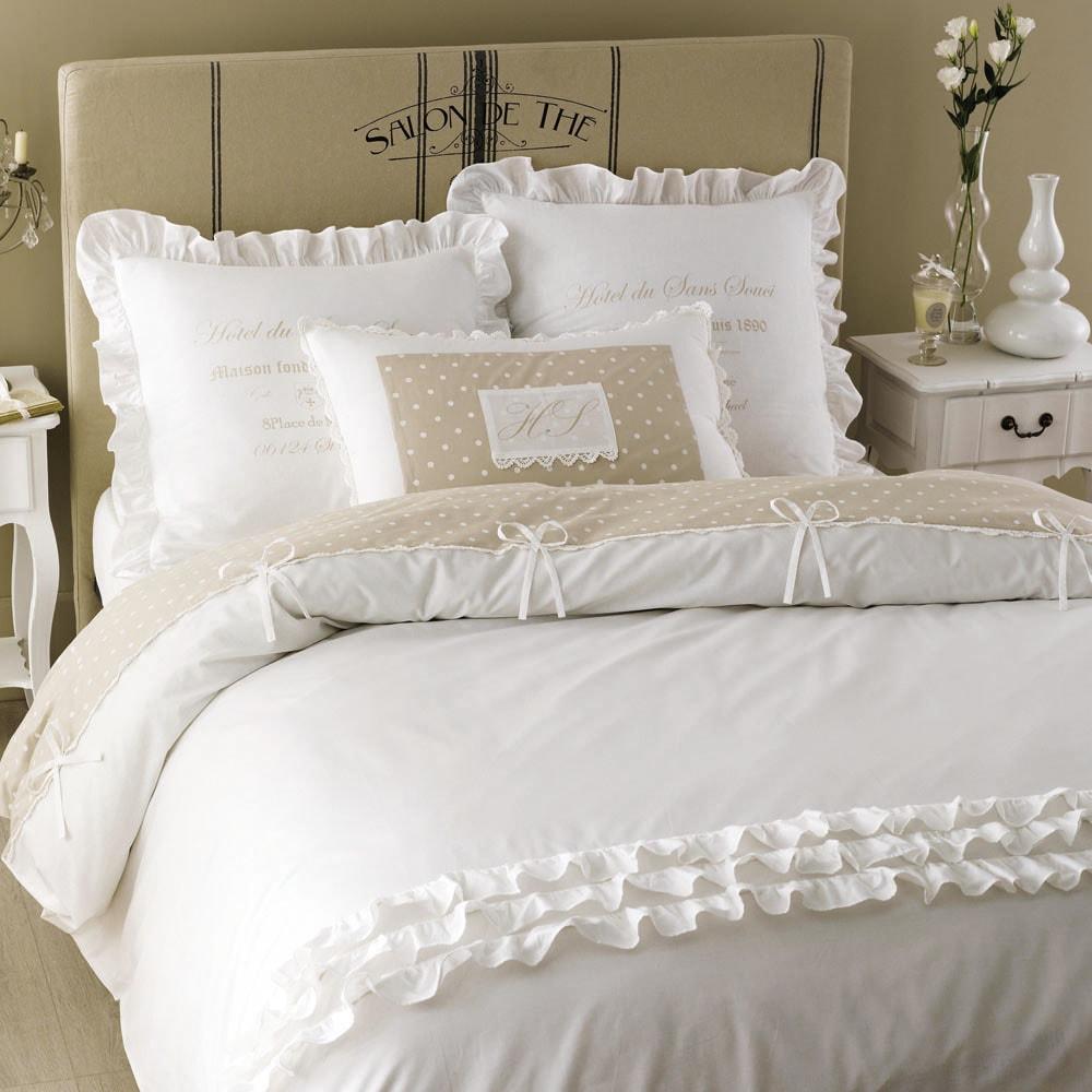 Parure de lit en coton blanche 220 x 240 cm sans souci maisons du monde for Parure de lit blanche