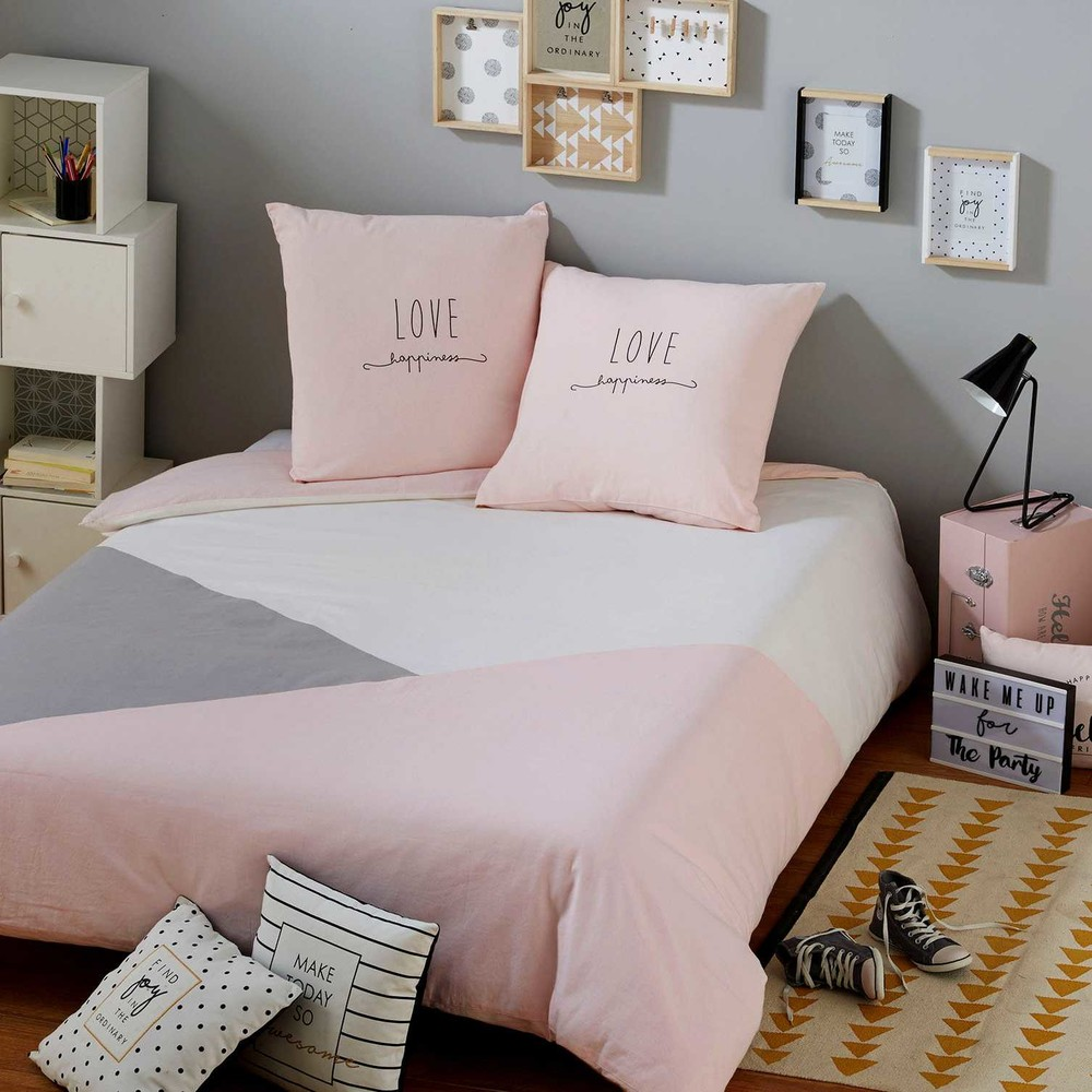 parure de lit en coton gris et rose 140x200cm joy maisons du monde. Black Bedroom Furniture Sets. Home Design Ideas