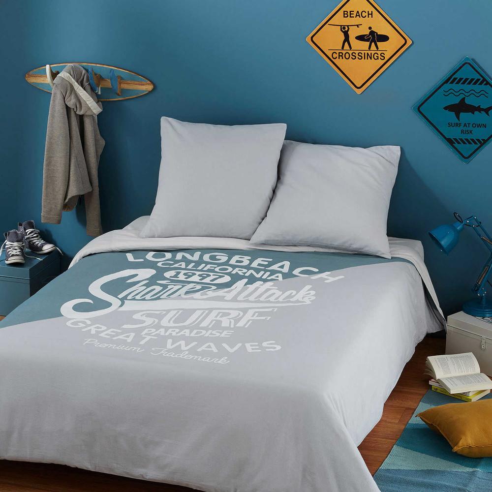 parure de lit en coton imprim gris et bleu 220x240cm. Black Bedroom Furniture Sets. Home Design Ideas