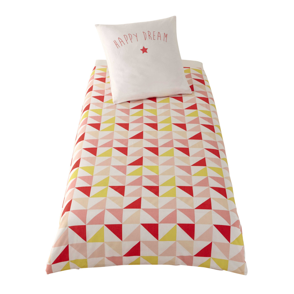 parure de lit enfant 140 x 200 cm en coton rose jaune. Black Bedroom Furniture Sets. Home Design Ideas