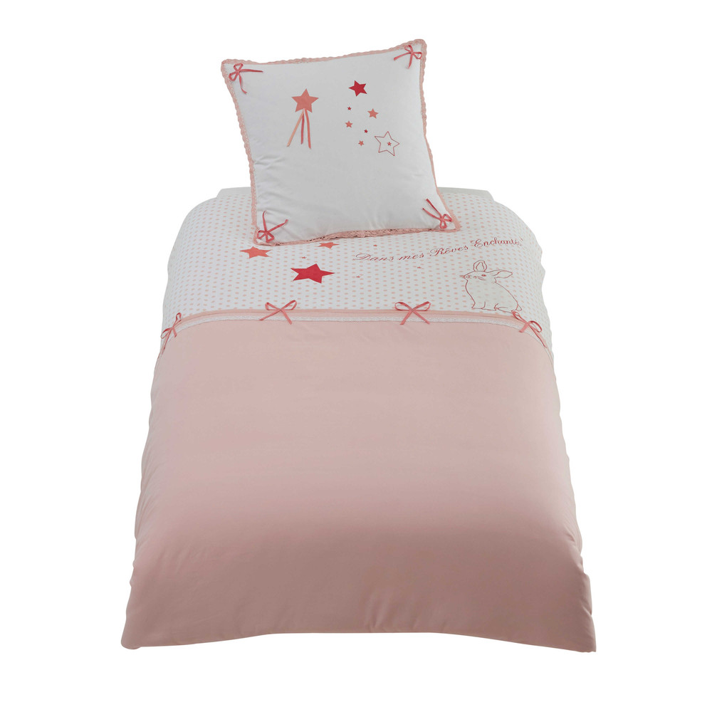parure de lit enfant 140 x 200 en coton rose stella maisons du monde. Black Bedroom Furniture Sets. Home Design Ideas
