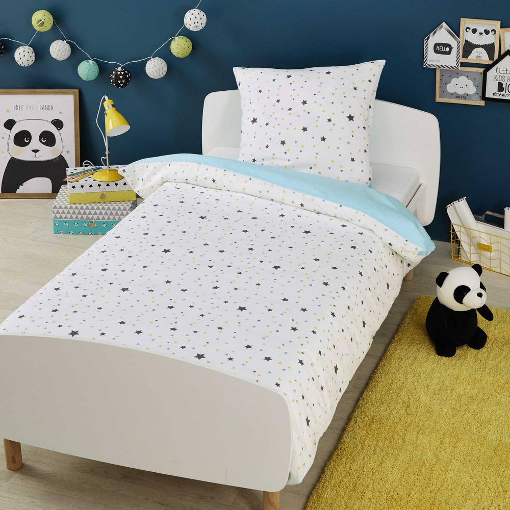 parure de lit enfant 140x200 en coton graphikids maisons