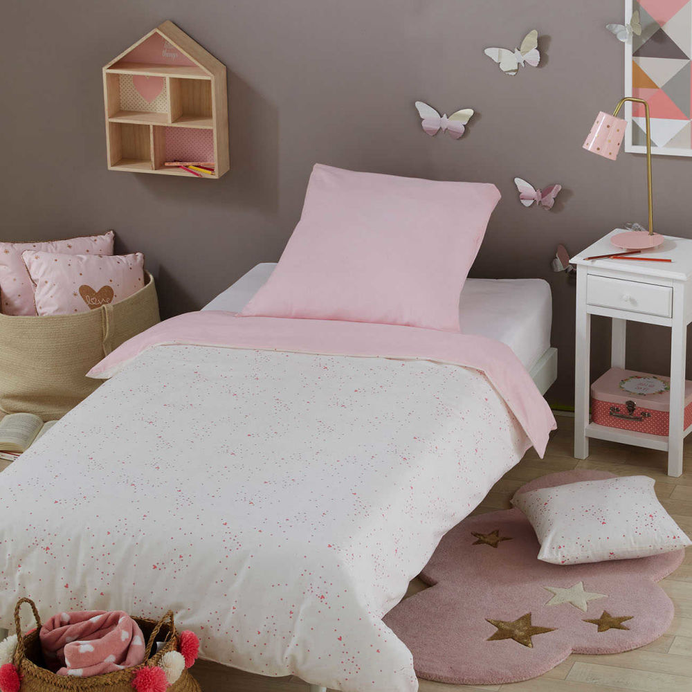 parure de lit enfant en coton blanc et rose 140x200. Black Bedroom Furniture Sets. Home Design Ideas