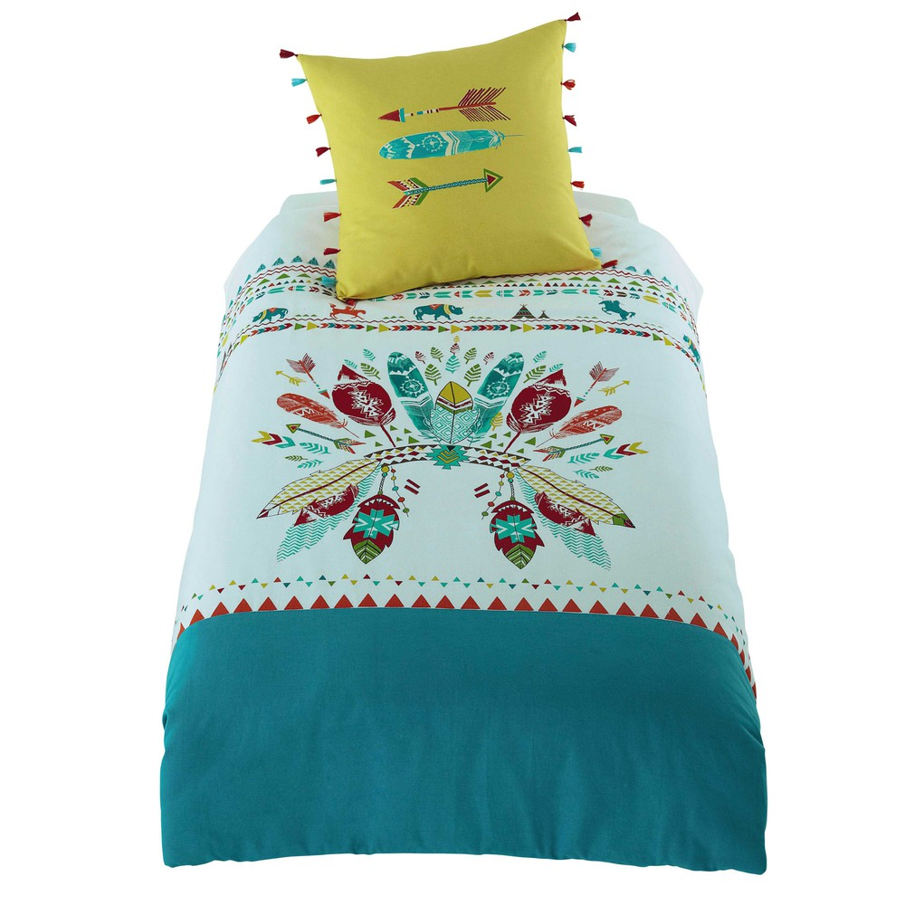 Parure de lit enfant en coton multicolore 140 x 200 cm - Parure de lit enfant fille ...
