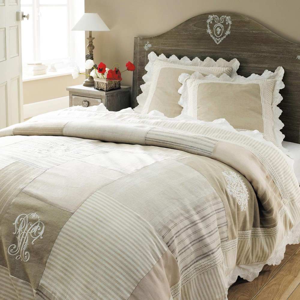 parure housse de couette beige 260x240 2 taies d 39 oreiller colombage maisons du monde. Black Bedroom Furniture Sets. Home Design Ideas
