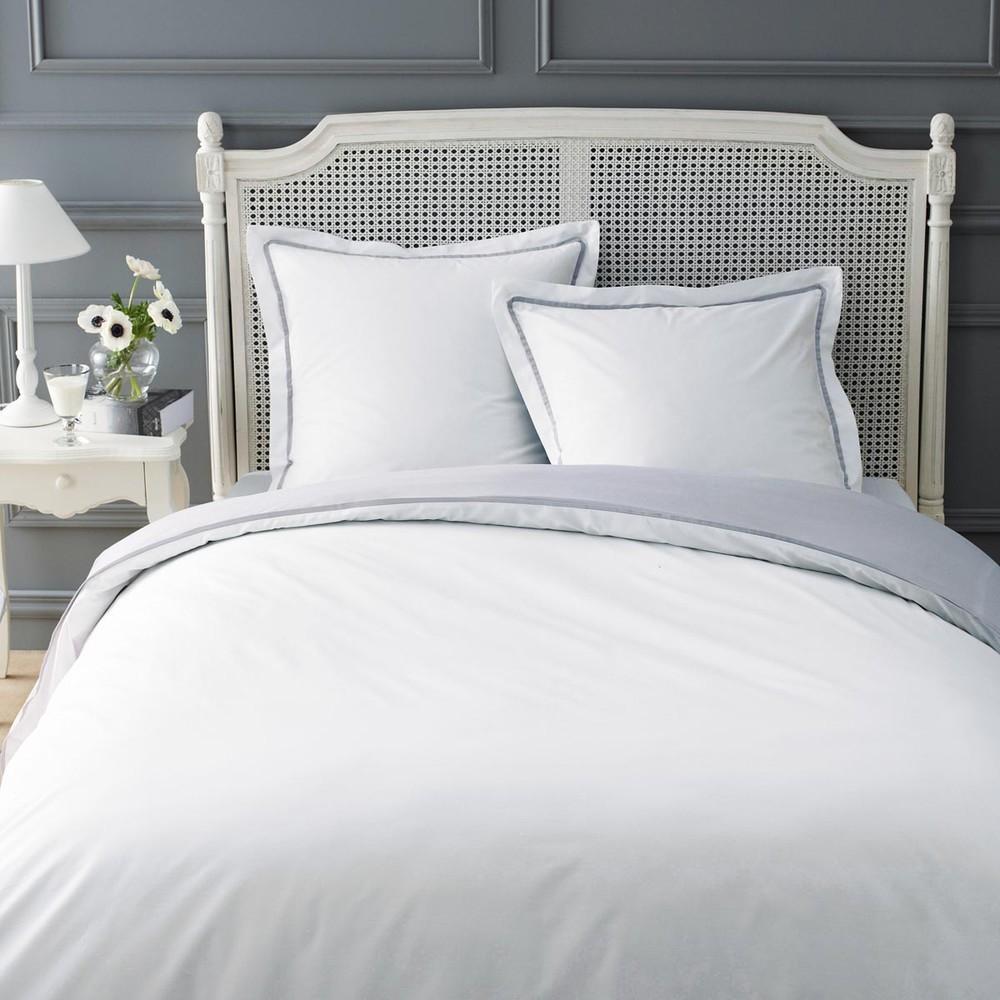 Parure housse de couette blanc gris 260x240 2 taies d 39 oreiller uni maisons du monde - Housse couette maison du monde ...