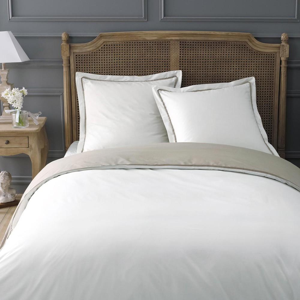 parure housse de couette cru beige 260x240 2 taies d 39 oreiller uni maisons du monde. Black Bedroom Furniture Sets. Home Design Ideas