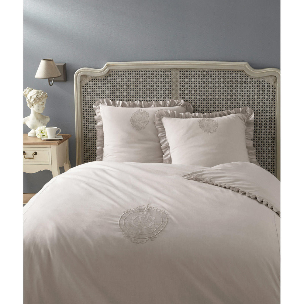 parure housse de couette grise carpe diem 240x220 maisons du monde. Black Bedroom Furniture Sets. Home Design Ideas