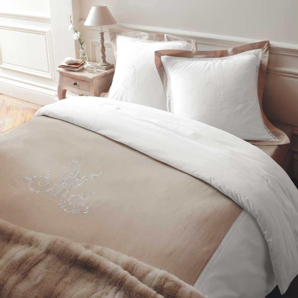 parure housse de couette monogramme 220x240 maisons du monde. Black Bedroom Furniture Sets. Home Design Ideas